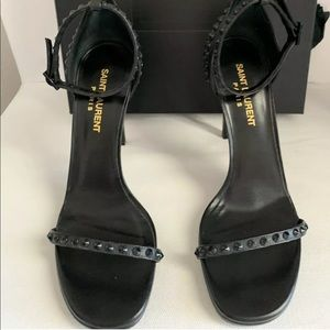 Saint Laurent Leather High Heel Sandals With Studs